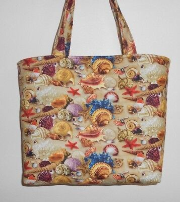 - Handmade Sea Shells Coral Star Fish  Tote Bag Purse