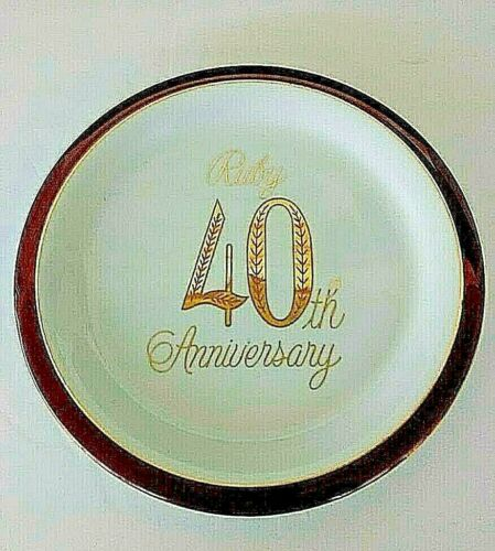 """40th Anniversary Plate 10"""" Porcelain Ruby ##"""