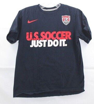 1277a4e43 NIKE BOYS USA Soccer Just Do It DRI-FIT T-SHIRT Navy Blue Size Large