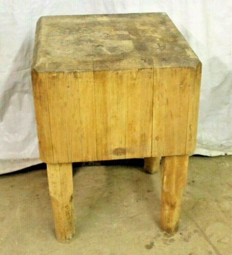 Antique BALLY Wood Butcher Block Table Kitchen Wooden Legs Meat Stand FLAT TOP