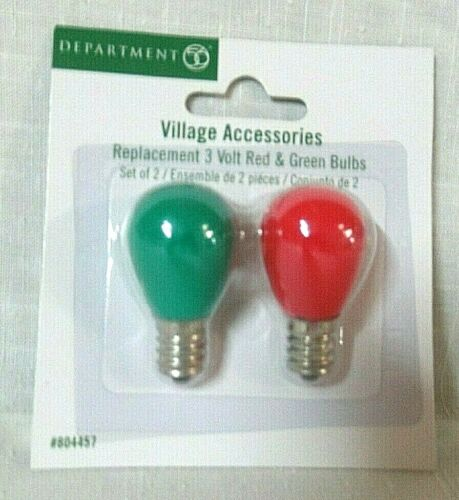 Department 56 Accessory Set of 2 ~ Replacement 3 Volt Red & Green Bulbs