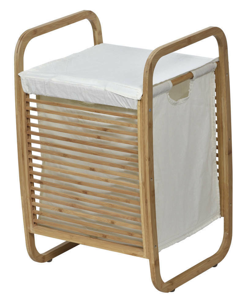 Evideco Laundry Hamper Basket Clothing Organizer Bamboo Whit