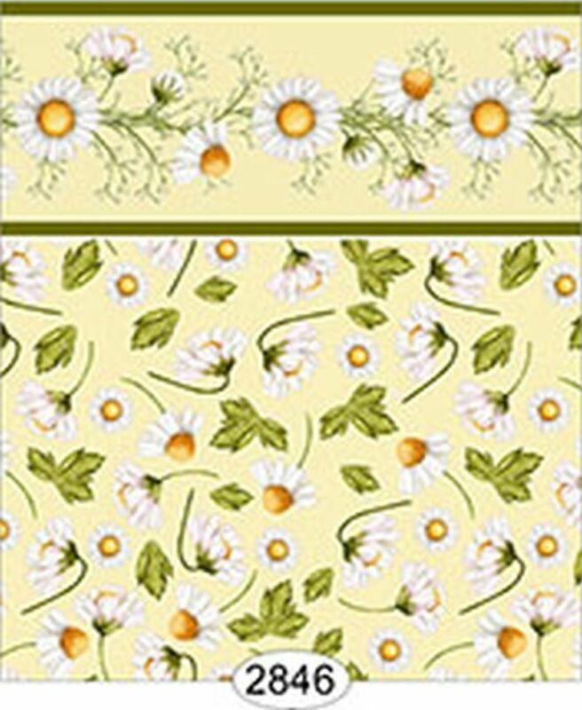 Dollhouse 1:12 Scale Wallpaper - Daisy Yellow on Yellow Floral