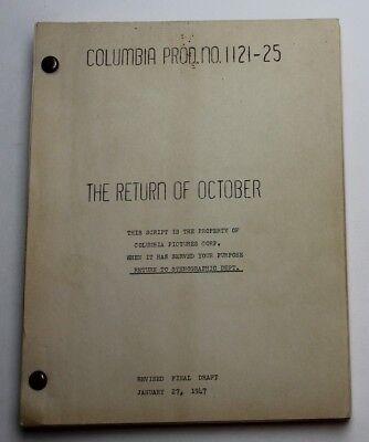 Norman Panama / The Return of October, 1947 Movie Script Screenplay, Glenn Ford
