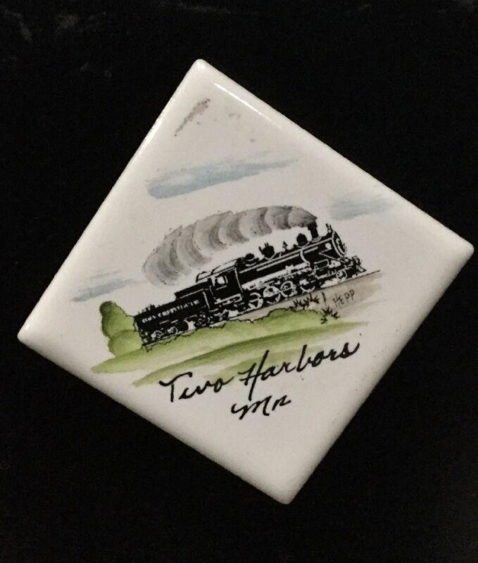 Souvenir Magnet Two Harbors MN Artist Painted Train on Tile Signed Hepp