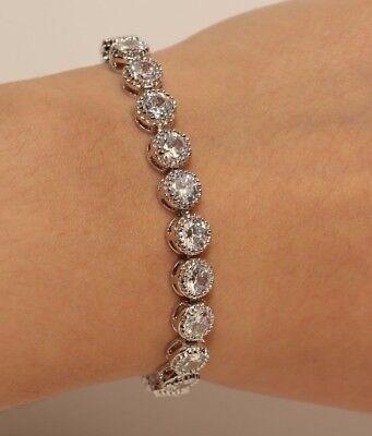 Round Diamond Tennis Bracelet For Women Anniversary 14K White Gold Finish 2CT 2ct Round Diamond Tennis Bracelet