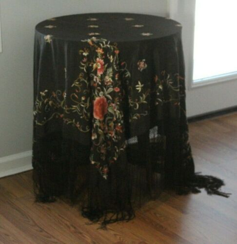Antique 19thC Chinese Black Silk Embroidered Coral Lotus Floral Piano Shawl