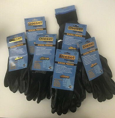 3-6-12-24 Diesel Protection General Purposework Black Gloves-choose Size