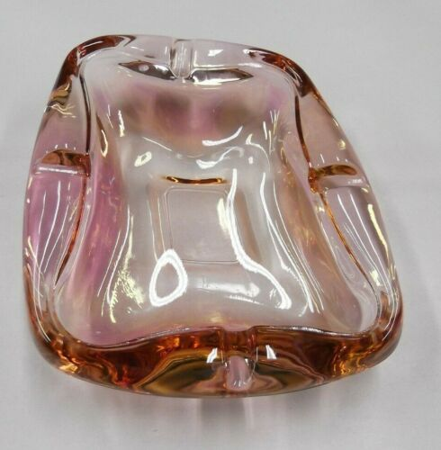 pink VTG murano glass ashtray nut mid century Modern mod