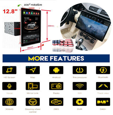 NEW 12.8'' Android 8.1 4+32GB HD Car Stereo Radio GPS DVR Headunit Multimedia US comprar usado  Enviando para Brazil