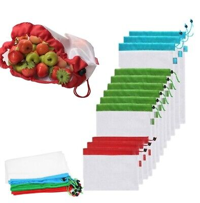 12 Pack Reusable Produce Bags Black Rope Mesh Vegetable Fruit Toys Storage Pouch - Green Bags