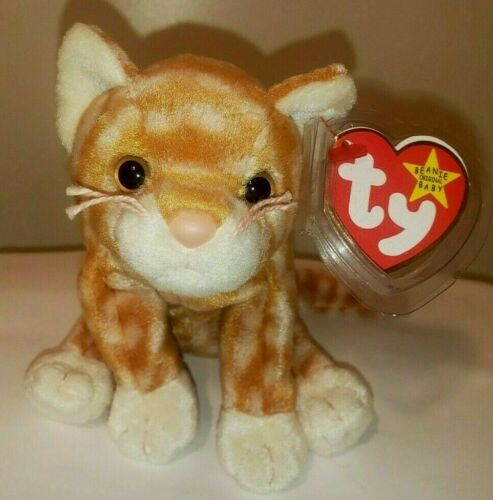Ty Beanie Baby - AMBER the Tabby Cat (8 Inch) MINT with MINT TAGS