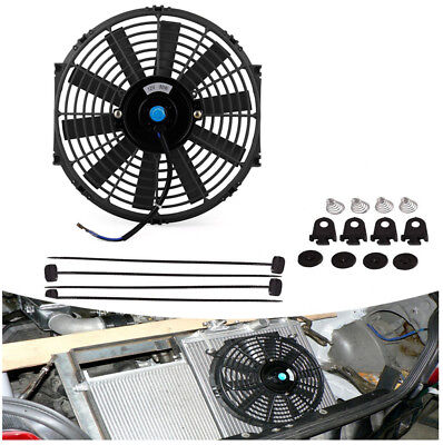 "12"" Black Durable Car Electric Plastic Cooling Radiator Slim Fan w/Mounting Kit"