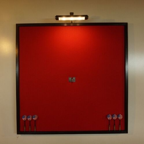 """LED Lighted Red and Black 32"""" x 32"""" Dart Board Cabinet Backboard Wall Protector"""