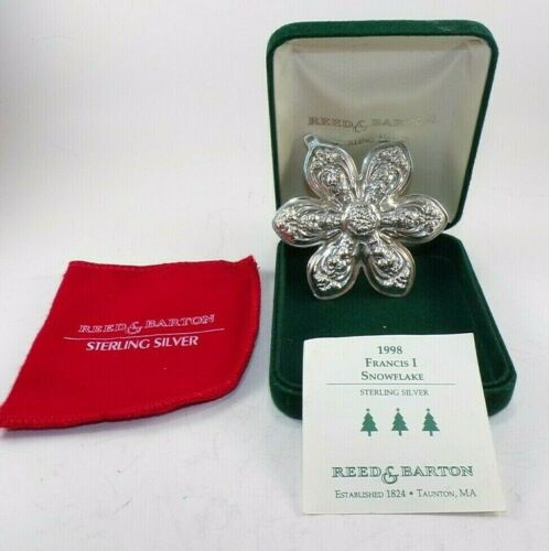 1998  REED & BARTON 1ST EDT. FRANCIS 1 STERLING SILVER SNOWFLAKE XMAS ORNAMENT