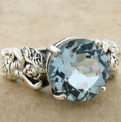 Aquamarine Jewelry - MERMAID RING .925 STERLING SILVER SIM AQUAMARINE VICTORIAN STYLE,   #827
