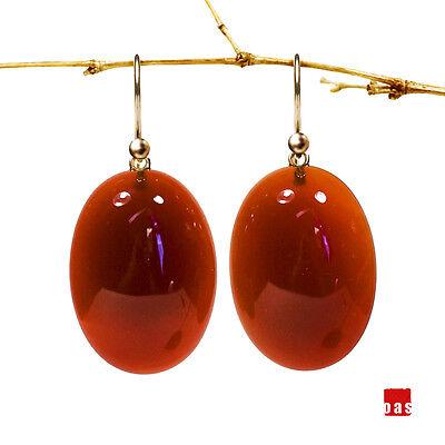 PURE GOLD !!! 18K or 14K Oval Red Carnelian DESIGNER Earrings Lever Back Option ()