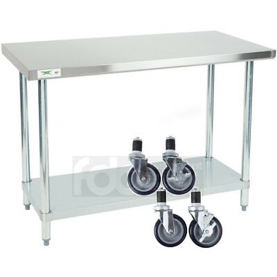 "24"" x 48"" Stainless Steel Work Prep Mobile Cart Table Shelf Commercial Casters for sale  Madisonville"