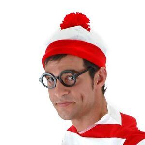 WALDO ADULT MENS BEANIE HAT WHERE'S WALDO WHITE RED STRIPED COSTUME BEANIE HAT