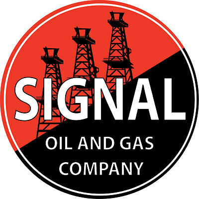 Large Round Signal Gas Motor Oil And Sign With Oil Field Garage Art