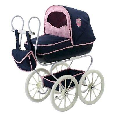 4 In 1 Deluxe Classic Kids Dolls Pram Carrycot Stroller Buggy Baby Carrier Doll Pram Carrier Stroller