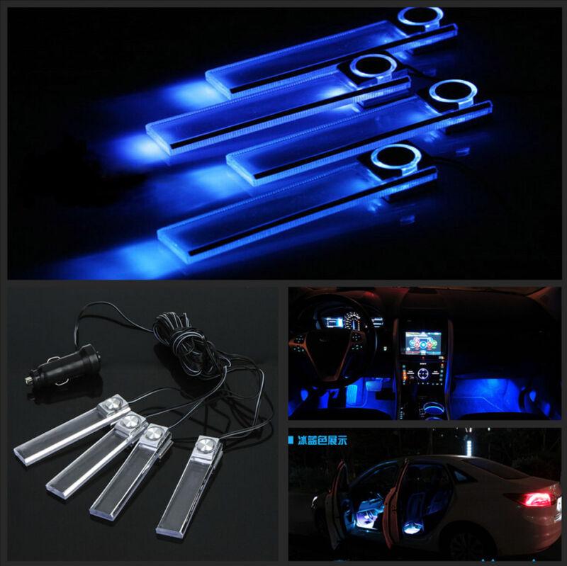 4 Pcs Blue LED Car Charging Footwell Interior Floor Decorative Atmosphere Lights