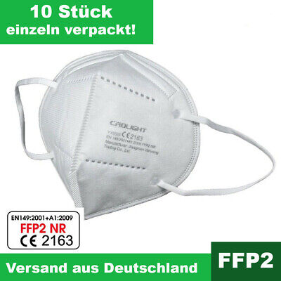 10x FFP2 Atemschutzmaske Mundschutz 5 lagig CE zertifiziert Maske Nase Mund