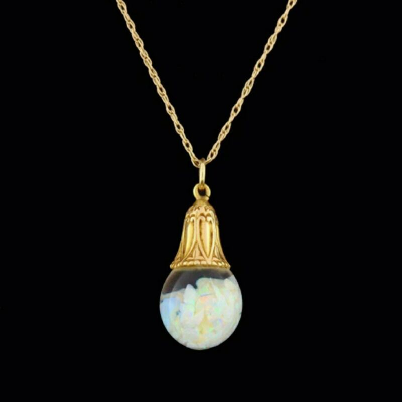 """Antique 14K Solid Yellow Gold Horace Welch Floating Opal Necklace 18"""""""