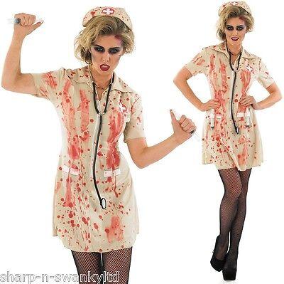 Ladies Zombie Bloody Dead Nurse Halloween Fancy Dress Costume Outfit & Plus - Nurses Outfit Plus Size