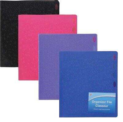 1 Jot Document Vinyl File Folder Organizer 4 Dividers 8 Pockets Durable Plastic