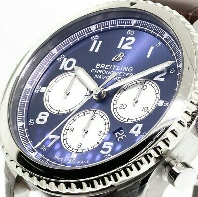 Breitling Aviator 8 B01 Chronograph 43mm - Steel Case - Blue Dial - Brown