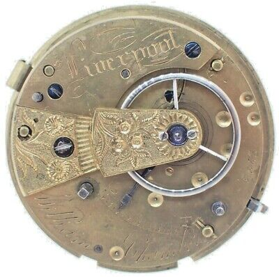 Antique William Chambers English Key Wind Fusee Pocket Watch Movement for Repair