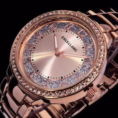 Excellanc Uhr Damenuhr Armbanduhr Glitzer Silber Rosegold Farben Metall Strass