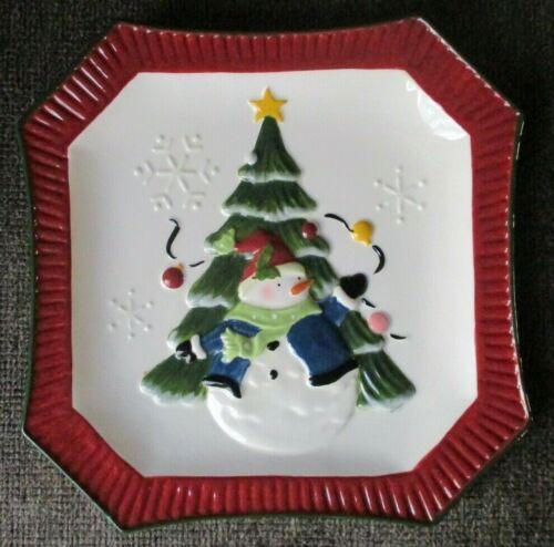 "BELLA CASA BY GANZ SNOWMAN CERAMIC CHRISTMAS PLATE 9 3/4""!"