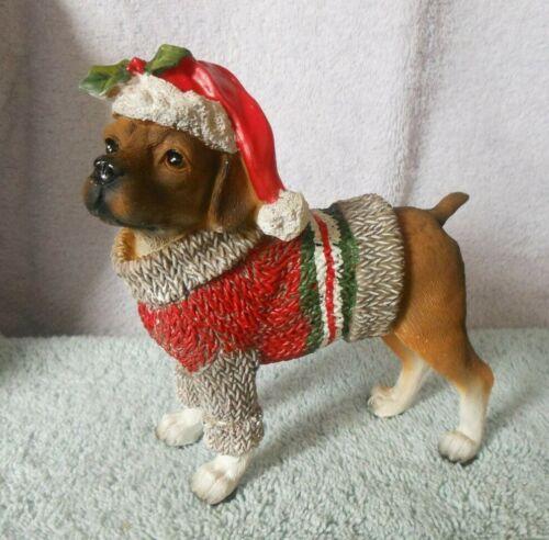 COLD CAST CERAMIC DOG FIGURINE HOLIDAY DRESS-UP PUP BOXER SWEATER & SANTA HAT