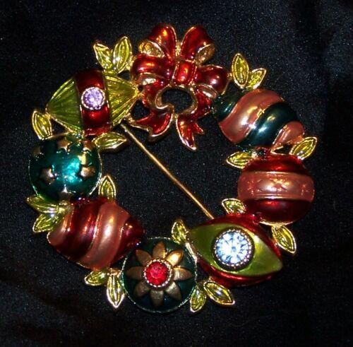 Christopher Radko Christmas Wreath Brooch Pin-Rhinestones/Enamel-Signed