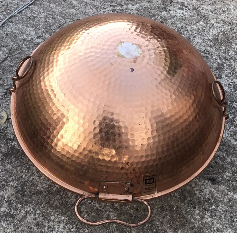 """METALUTIL HAMMERED COPPER 10"""" CATAPLANA CLAM SHELL SEAFOOD PORTUGESE"""