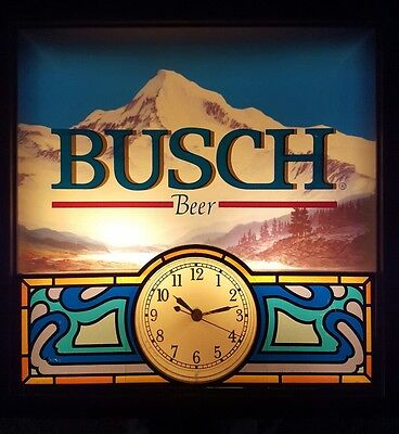 1997 Busch Beer Lighted Sign With Working Clock