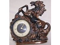 CLOCK, HORSE, MERCEDES, FIGURE, PORCELAIN, GERMANY, VINTAGE