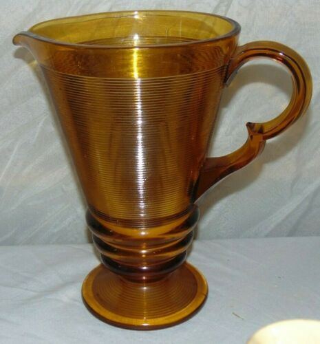 Indiana Depression Glass Old English Threading Amber Pitcher