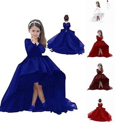 Formal Kids Hi-Low Flower Girl Dress First Communion Dress with Long - Communion Dresses With Sleeves