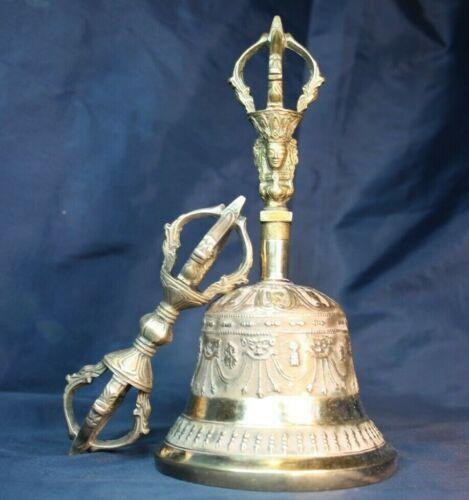 Tibetan Vajra and bell 7 inch, Buddhist bell, Ghanta, Drilbu