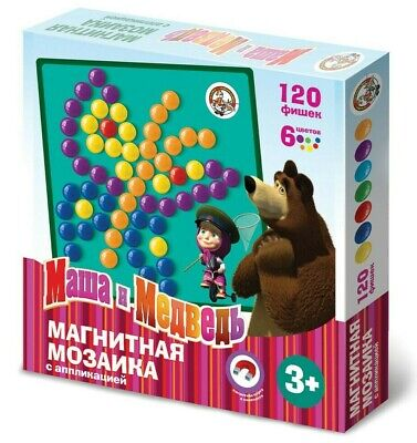 Masha and the Bear Magnetic Mosaic Game Button Art Mozaika Маша и Медведь