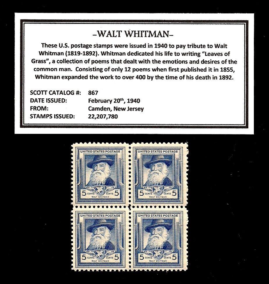 WYOMING STATEHOOD 1940 Postage Stamps Block of Four Vintage U.S