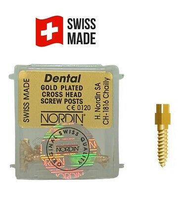 Nordin Dental Gold Plated Screw Post Original All Sizes Refill Of Kit 12 Posts