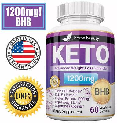 Herbal Beauty KETO BHB 1200mg PURE Ketone FAT BURNER Weight Loss Diet Pills