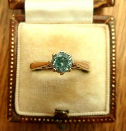 VINTAGE JEWELLERY 9CT GOLD BLUE ZIRCON SOLITAIRE RING FULL UK HALLMARKS