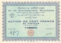 Omnium D' Etudes Et De Recherches Minieres Sa, Accion, 1930 (siege: Paris) -  - ebay.es