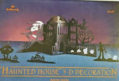 Vintage Hallmark Paper Haunted House Halloween Decorations Sealed Package