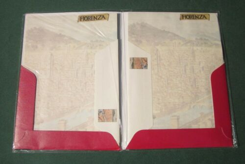 FIRENZE ANTICA Antique MAP of FLORENCE 1840 STATIONERY PAPER Set FIORENZA ITALY
